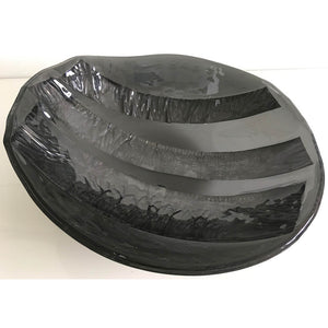 Stripped Black by Eryka Isaak fused glass bowl sculpture