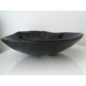 Stripped Black by Eryka Isaak fused glass bowl sculpture side