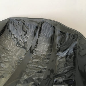 Stripped Black by Eryka Isaak fused glass bowl sculpture detail