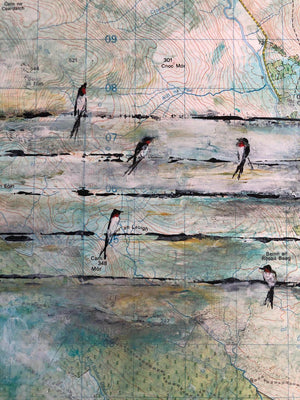 Swallows on Wire by Sarita Keeler