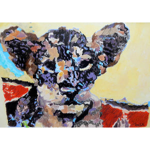 Thai tiger cub by Stella Tooth baby big cat portrait original mixed media Thailand animal artwork