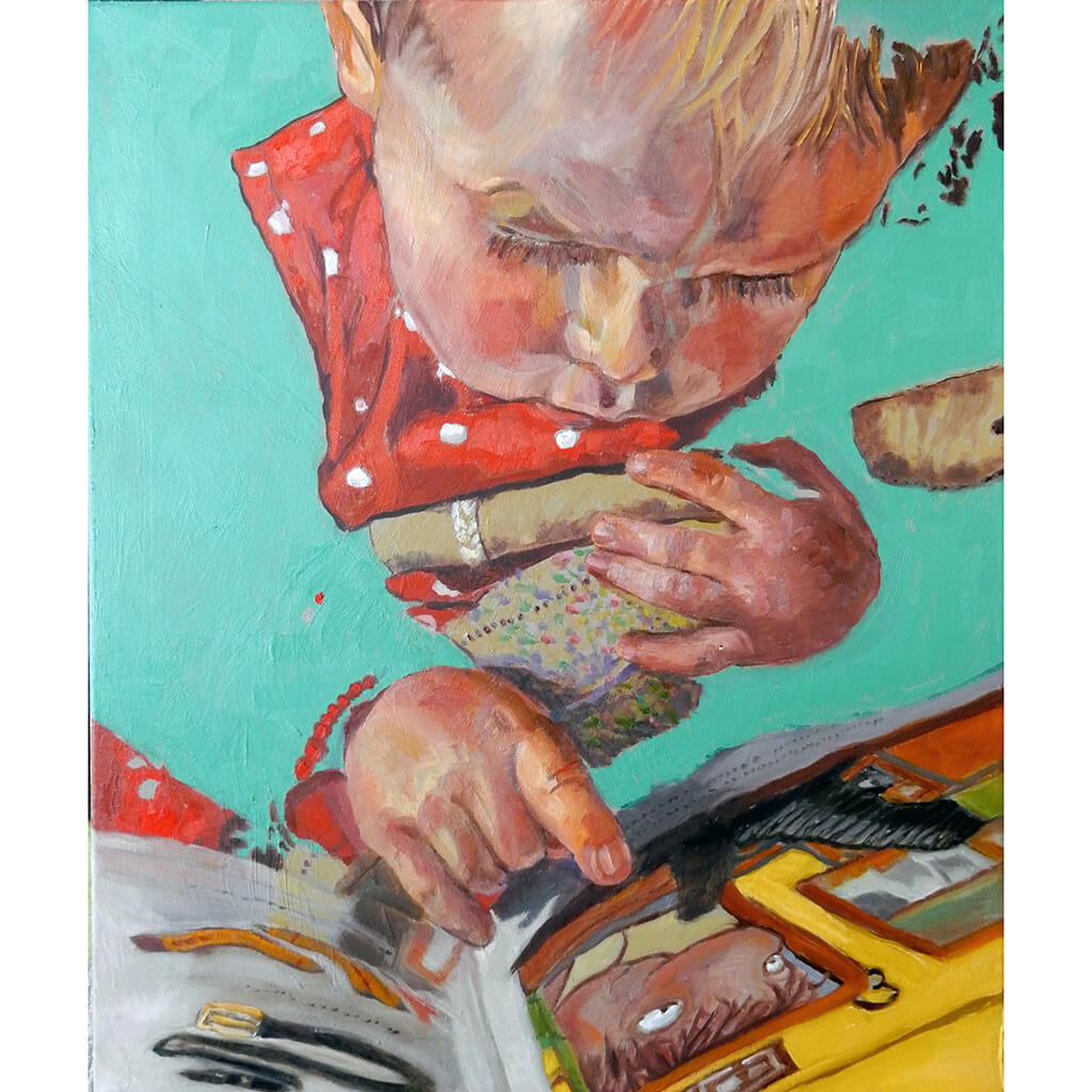 The Art of Reading by Stella Tooth is a charming original oil on canvas painting of a little girl reading a book