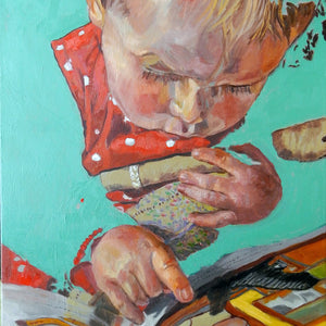 The Art of Reading by Stella Tooth is a charming original oil on canvas painting of a little girl reading a book detail
