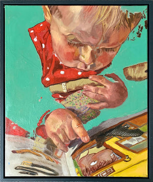 The Art of Reading by Stella Tooth is a charming original oil on canvas painting of a little girl reading a book display