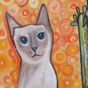 The Cat With The Rainbow Tail by Wilf Frost Artist Oil on Canvas Detail