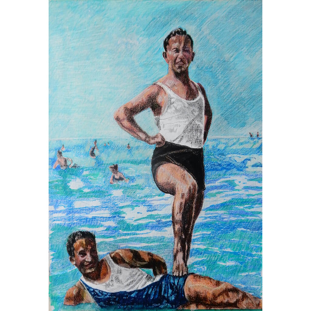 Two male seaside swimmers pencil on paper in aqua blue by London based portrait artist Stella Tooth