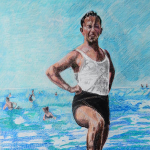 Two male seaside swimmers pencil on paper in aqua blue by London based portrait artist Stella Tooth display