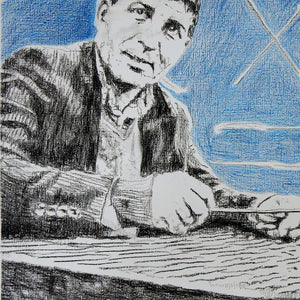 A Greek sandouri playing musician performing on the streets of London mixed media drawing on paper artwork by Stella Tooth detail
