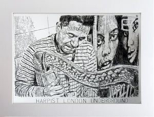 Diego Laverde Rojas mixed media on paper original artwork of a harp player on the London Underground by artist Stella Tooth display
