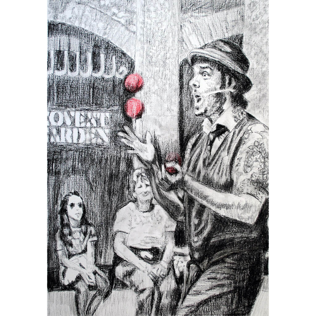 Juggling busker Corey Pickett performing in Covent Garden London pencil drawing on paper by Stella Tooth portrait artist