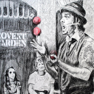 Juggling busker Corey Pickett performing in Covent Garden London pencil drawing on paper by Stella Tooth portrait artist detail