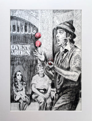 Juggling busker Corey Pickett performing in Covent Garden London pencil drawing on paper by Stella Tooth portrait artist display