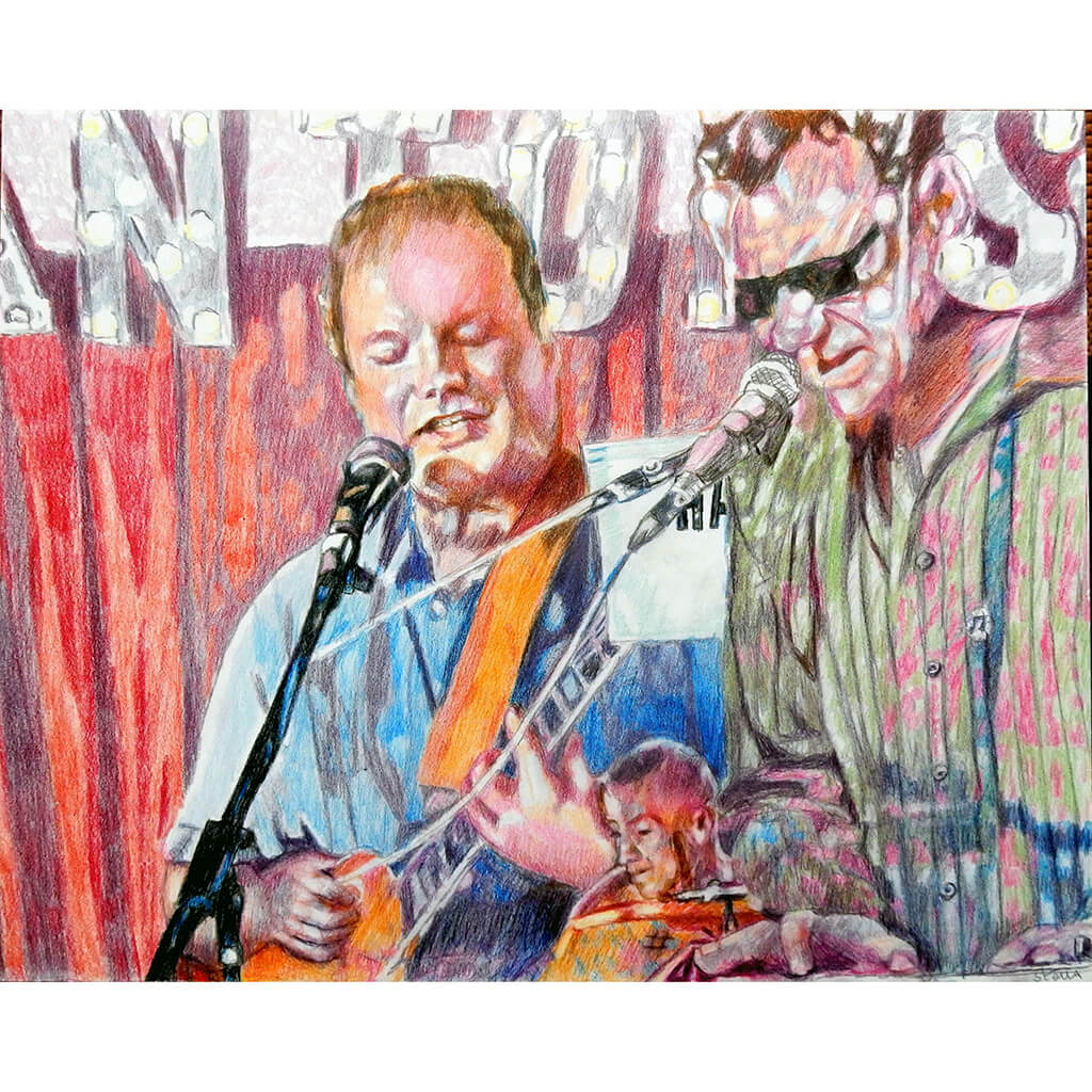 The Phantoms at the Half Moon Putney pencil drawing of musicians by performer artist Stella Tooth