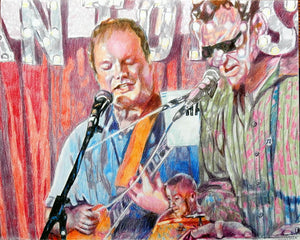 The Phantoms at the Half Moon Putney pencil drawing of musicians by performer artist Stella Tooth display