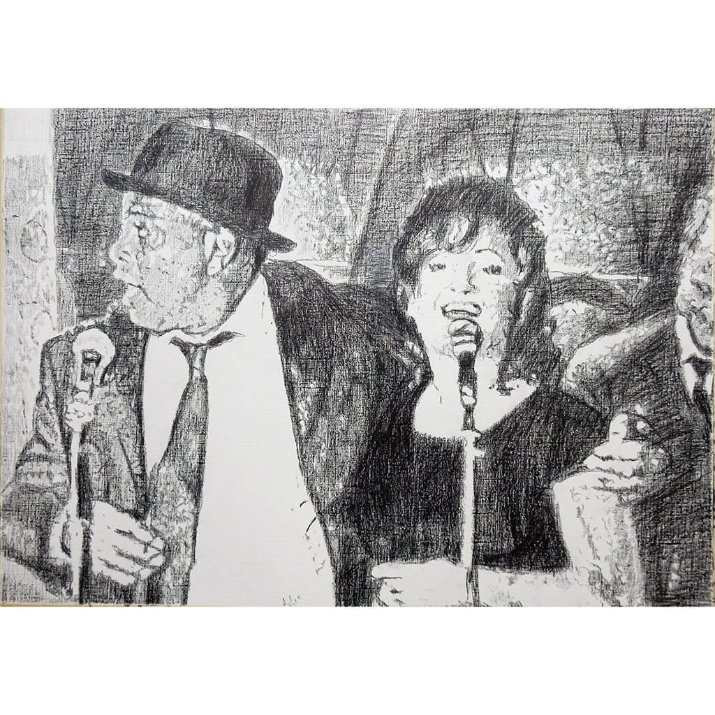 Original monochrome drawing of The Rawhides by London musician artist Stella Tooth Mounted pencil artwork
