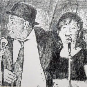 Original monochrome drawing of The Rawhides by London musician artist Stella Tooth mounted pencil artwork detail