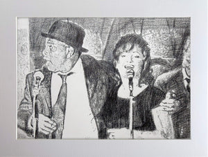 Original monochrome drawing of The Rawhides by London musician artist Stella Tooth mounted pencil artwork display