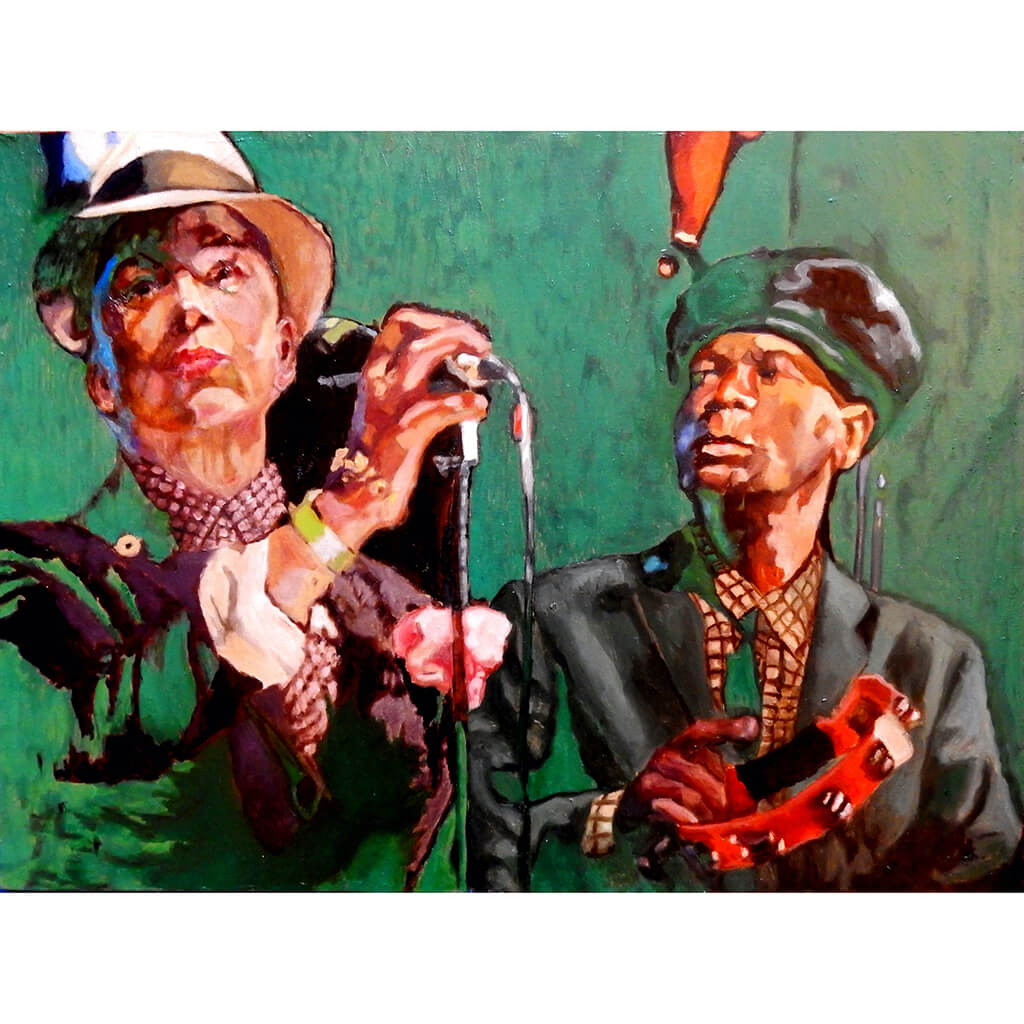 The Selecter ska band musicians performing at a show in London original artwork oil on canvas painting by Stella Tooth artist