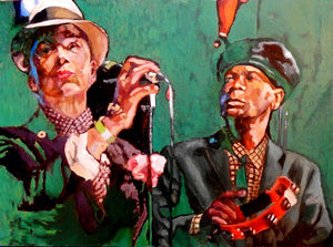 The Selecter ska band musicians performing at a show in London original artwork oil on canvas painting by Stella Tooth artist display