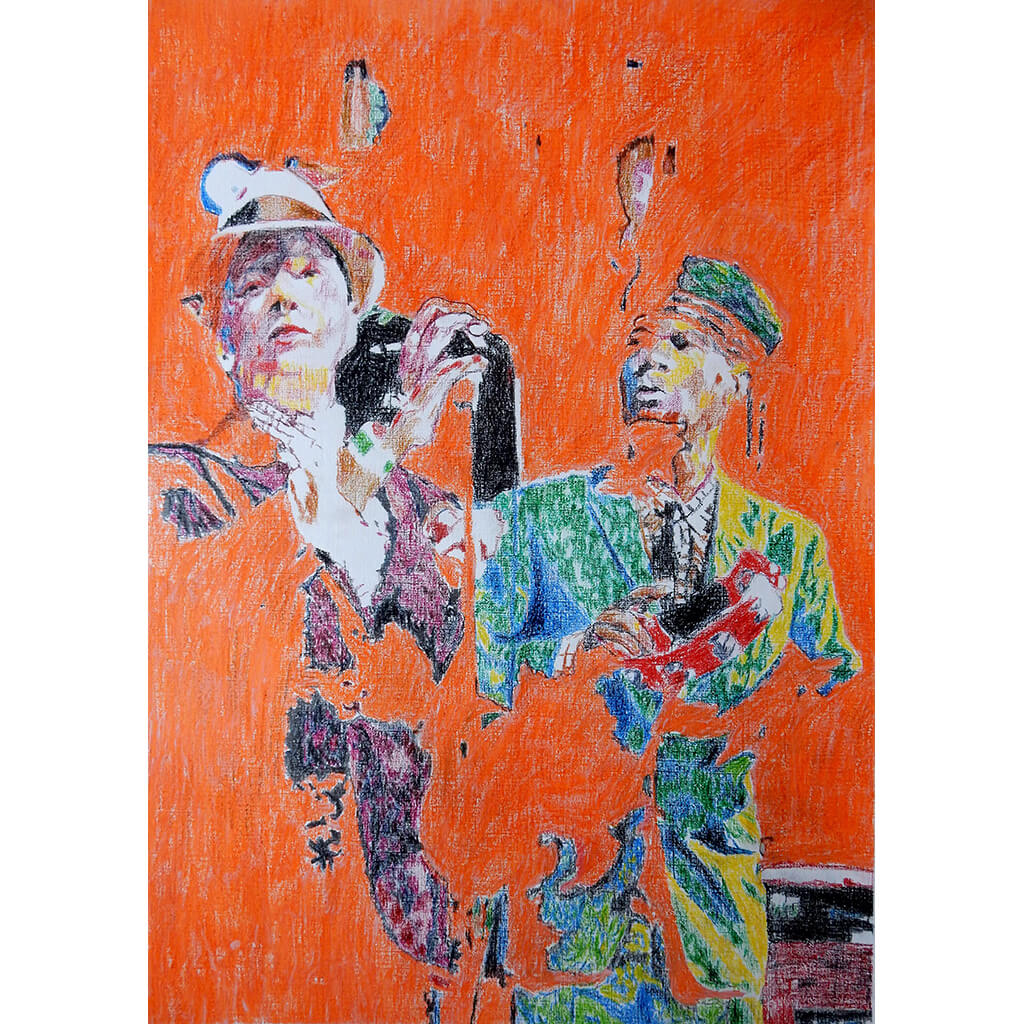 The Selecter 2 tone ska band musicians performing in London original orange mixed media artwork by Stella Tooth artist