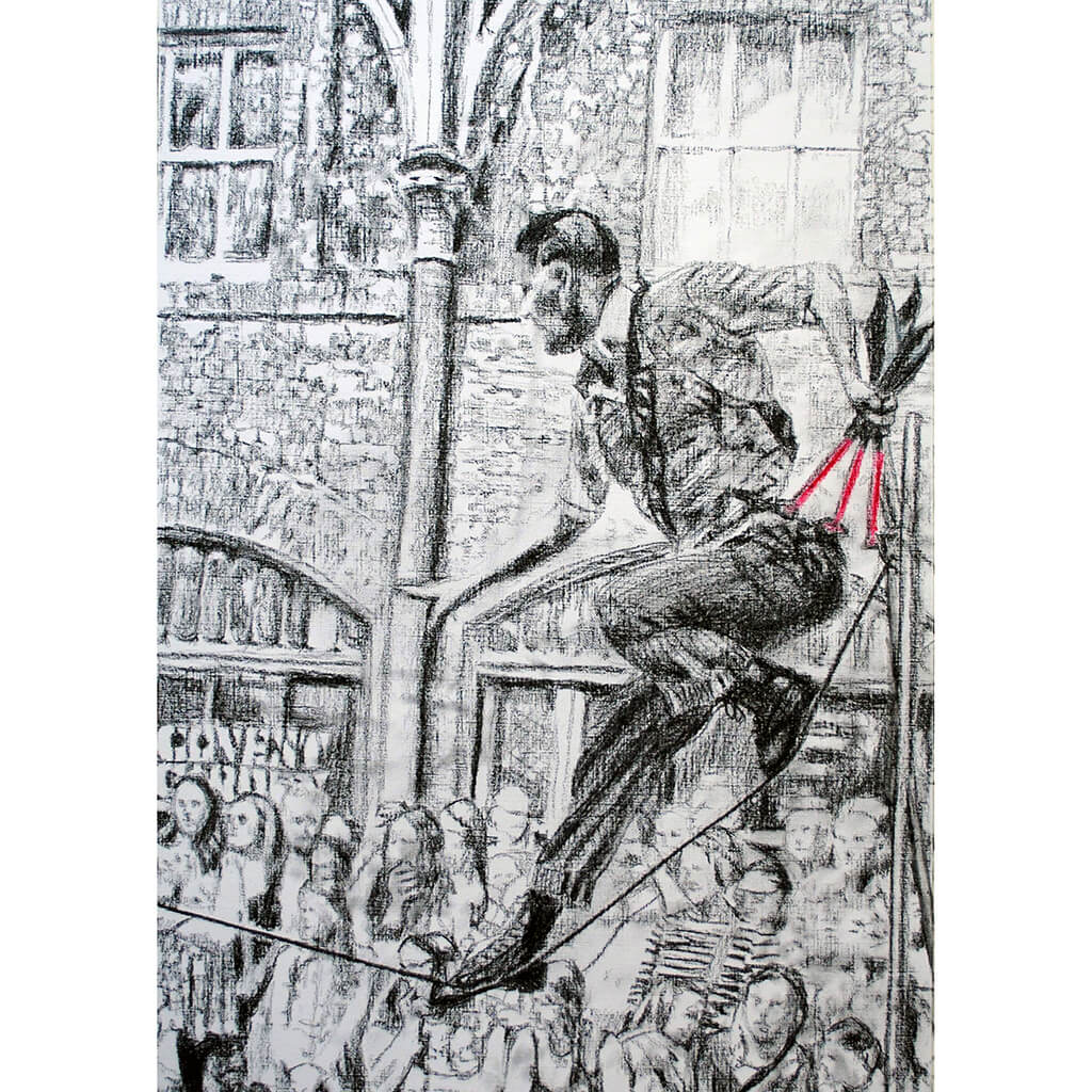 A slackliner artist performing in Covent Garden London to onlookers pencil drawing on paper by Stella Tooth portrait artist
