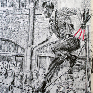 A slackliner artist performing in Covent Garden London to onlookers pencil drawing on paper by Stella Tooth portrait artist detail