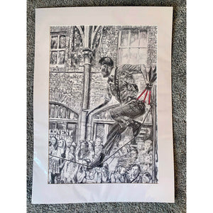 A slackliner artist performing in Covent Garden London to onlookers pencil drawing on paper by Stella Tooth portrait artist in mount
