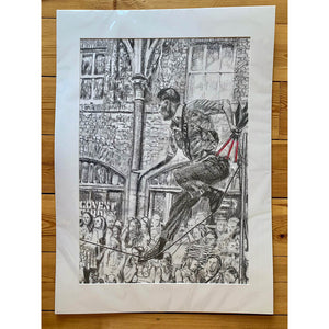 A slackliner artist performing in Covent Garden London to onlookers pencil drawing on paper by Stella Tooth portrait artist mounted