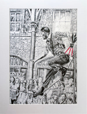 A slackliner artist performing in Covent Garden London to onlookers pencil drawing on paper by Stella Tooth portrait artist display
