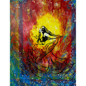 The Spark by London artist Smita Sonthalia original acrylic on canvas painting of a woman dancing against bright colours
