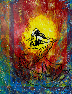 The Spark by London artist Smita Sonthalia original acrylic on canvas painting of a woman dancing against bright colours room view