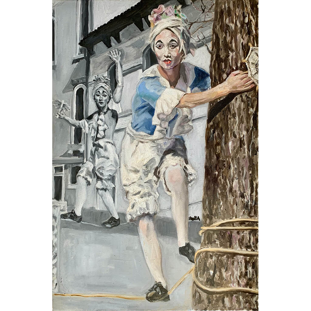 Tightrope walking performer in Venice Italy oil painting on canvas in blue by London based portrait artist Stella Tooth