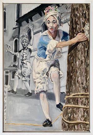 Tightrope walking performer in Venice Italy oil painting on canvas in blue by London based portrait artist Stella Tooth display