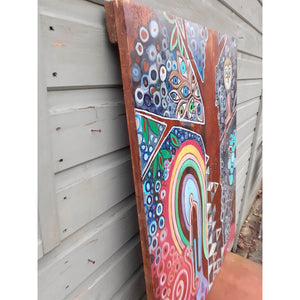 The Tree of Life by Wilf Frost original artwork painted in multi colours onto an antique wooden drafting board side