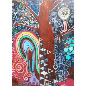 The Tree of Life by Wilf Frost original artwork painted in multi colours onto an antique wooden drafting board