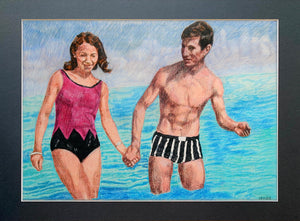 The Young Ones seaside swimmers pencil on paper in aqua blue deep pink and black by London based portrait artist Stella Tooth display