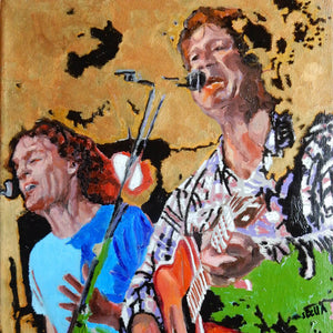 The Fabulous Electric Zimmermen band performing at the Half Moon Putney oil on canvas painting by artist Stella Tooth detail