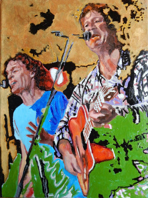 The Fabulous Electric Zimmermen band performing at the Half Moon Putney oil on canvas painting by artist Stella Tooth display