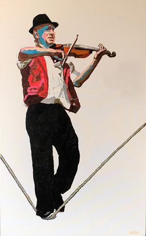 The slackrope walker - Brighton acrylics on canvas by Stella Tooth