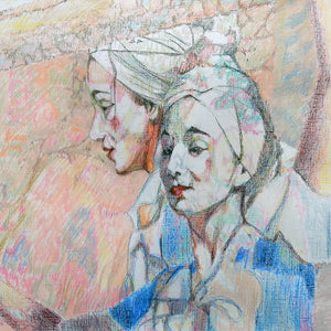 The tightrope walker duet coloured pencil on paper by Stella Tooth