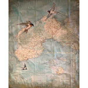 Three Swallows original acrylic and pastel mixed media artwork of swallow birds and vintage map by London artist Sarita Keeler