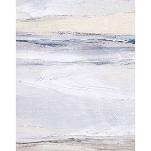 Tofino Seascape by Sarah Knight. An original semi-abstract oil seascape painted in shades of blue and grey framed in white wood