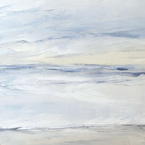 Tofino Seascape by Sarah Knight. An original semi-abstract oil seascape painted in shades of blue and grey detail