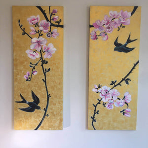 Together by Helen Trevisiol Duff pair of acrylic on canvas gold panel paintings with pink flowers and swallow birds installed
