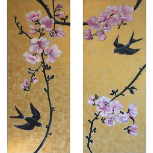 Together by Helen Trevisiol Duff pair of acrylic on canvas gold panel paintings with pink flowers and swallow birds