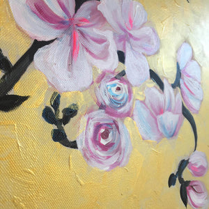 Together by Helen Trevisiol Duff pair of acrylic on canvas gold panel paintings with pink flowers detail