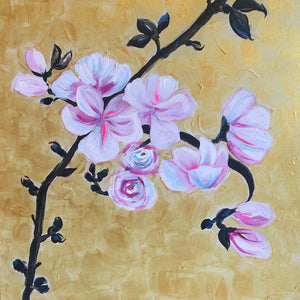 Together by Helen Trevisiol Duff pair of acrylic on canvas gold panel paintings pink blossom flower close up