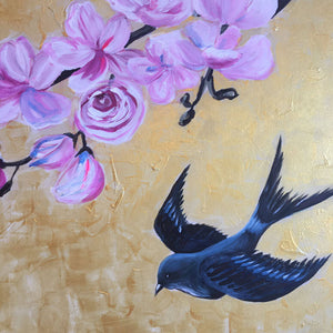Together by Helen Trevisiol Duff pair of acrylic on canvas gold panel paintings with blue swallow bird detail