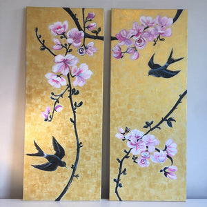 Together by Helen Trevisiol Duff pair of acrylic on canvas gold panel paintings pink blossom flowers and swallow birds
