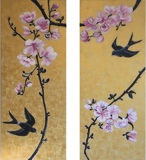 Together by Helen Trevisiol Duff pair of acrylic on canvas gold panel paintings with pink flowers and swallow birds Display